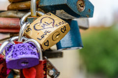 The padlock of love Stock Photos