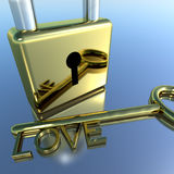 Padlock With Love Key Showing Romance Stock Image