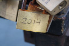 Padlock on lovers bridge in Copenhagen Stock Photos