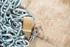 Padlock and  metal chain with copy-space Stock Photography