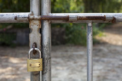 padlock on the metal door Royalty Free Stock Photo