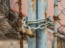 Padlock and metal gate Royalty Free Stock Photography