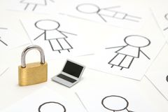 Padlock, miniature laptop and many people on white background. Stock Photography