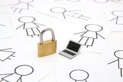 Padlock, miniature laptop and many people on white background. Royalty Free Stock Image