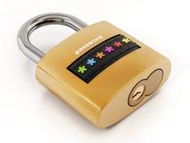 Padlock mit dem Passwortschirm, der auf weißem Hintergrund lokalisiert wird Abbildung 3D Stockbilder