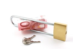 Padlock with money. Isolated on a white background Stock Photo