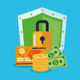 Padlock and money inside shield design Stock Photo