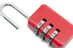 Padlock with numbering. On a white background Stock Photos