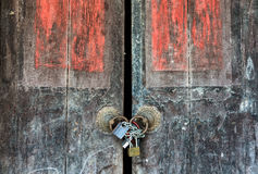 Padlock and old door an vintage Stock Image