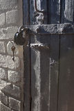 Padlock on old doors Royalty Free Stock Photo