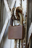 Padlock on old gate Stock Image