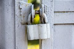 A padlock of the old style on the gate. stock image