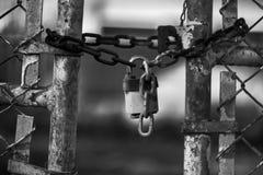 Free Padlock On Abandoned Factory Gate Stock Photography - 49620752