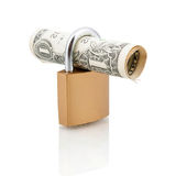 Padlock and one dollar bill Stock Photography