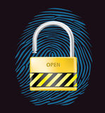 Padlock open. Fingerprint,  realistic illustration Royalty Free Stock Photography