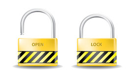 Padlock open and close Royalty Free Stock Photography