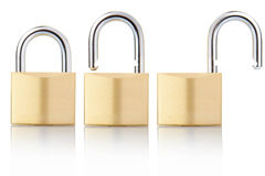 Padlock open and closed. Padlocks open and closed isolated on white, clipping path included Royalty Free Stock Photo