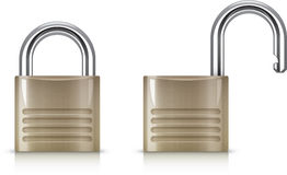 Padlock. Open and closed generic padlock Vector Illustration