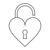 Padlock open shaped heart loved outline Royalty Free Stock Photography