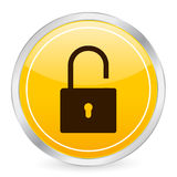 Padlock open yellow circle ico Royalty Free Stock Image
