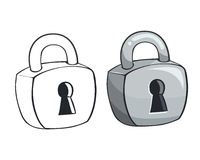 Padlock outline and color Stock Photo
