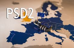 Padlock over EU map, PSD2 metaphor. Padlock over EU map, symbolizing the Payment Services Directive 2 which will apply as of 13 January 2018 Royalty Free Stock Image