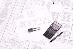 Padlock, pen, calculator Royalty Free Stock Photo