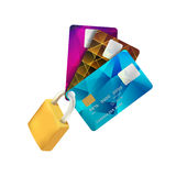 Padlock and Plastic Credit Cards Stock Image