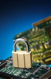 Padlock with printed circuit board Royalty Free Stock Image