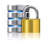 Padlock Protects Database Royalty Free Stock Image