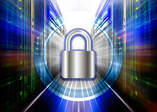 Padlock protects supercomputing data center . The concept of protection, security, data access Royalty Free Stock Photos