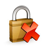 Padlock with red cross Stock Images