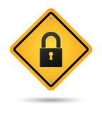 Padlock road sign Royalty Free Stock Image