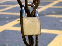 Padlock on a Rusty Chain Royalty Free Stock Photo