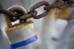 Padlock on Rusty Chain Stock Image
