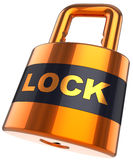 Padlock. Security concept (Hi-Res). Shiny orange padlock with text Lock on it. 3D render. Isolated on white Stock Photos
