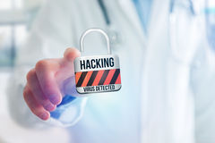 Padlock security connection hacked displayed on a futuristic int Royalty Free Stock Images