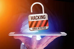 Padlock security connection hacked displayed on a futuristic int Stock Image