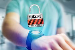 Padlock security connection hacked displayed on a futuristic int Stock Images
