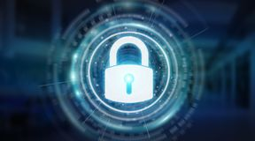 Padlock security interface protecting datas 3D rendering. Padlock security interface protecting datas isolated on blue background 3D rendering Royalty Free Stock Image