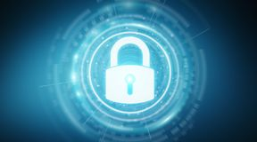 Padlock security interface protecting datas 3D rendering. Padlock security interface protecting datas isolated on blue background 3D rendering Royalty Free Stock Photography