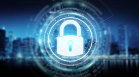 Padlock security interface protecting datas 3D rendering. Padlock security interface protecting datas isolated on blue background 3D rendering Stock Images
