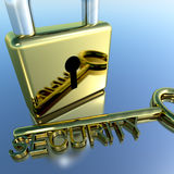 Padlock With Security Key Stock Photography