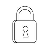 Padlock security system technology thin line Stock Photography
