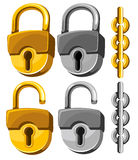 Padlock set. Set of closed and opened padlocks with chain Stock Photos