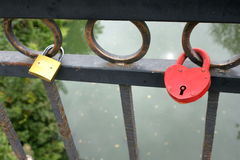 Padlock shape heart. Symbol of love. Royalty Free Stock Images