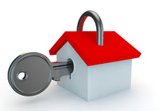 A padlock in the shape of a house with a key in Stock Images