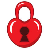 Padlock in the shape of a red heart. vector Royalty Free Stock Photos