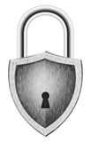 Padlock in the shape of a shield. Isolated on white Stock Photo