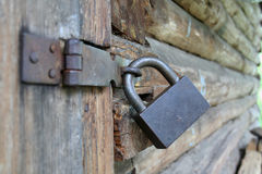 Padlock on a shed door Stock Photo